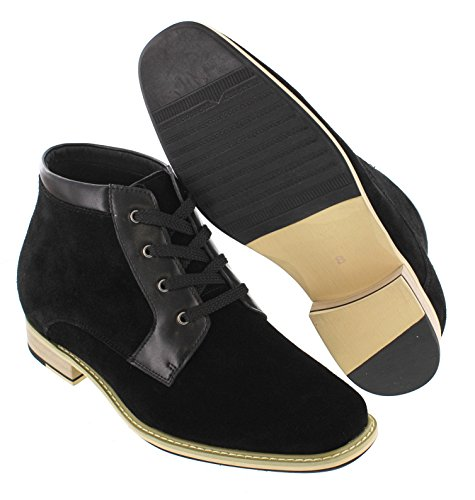 inches Height CALTO Elevator T18051 Boots 2 8 Increasing Black Nubuck Shoes Taller 1wt467
