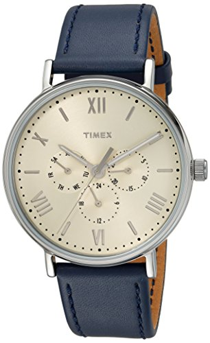 - Timex Unisex TW2R29200 Southview 41 Multifunction Blue/White Leather Strap Watch