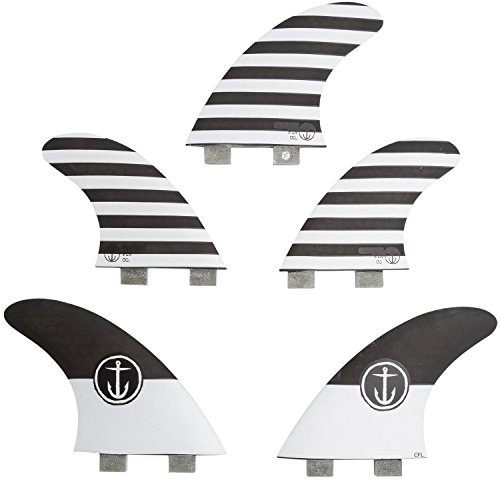 Captain Fin Co. CF-5-Fin large Twin Tab/FCS, II Compatible Surfboard Fin, Black by Captain Fin Co.