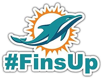 Dolphins Football - Miami Hashtag Sport Car Bumper Sticker Decal 5'' X 4''