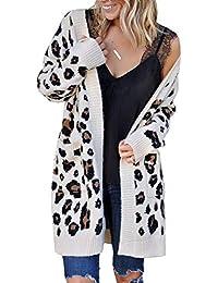 Women Leopard Cardigan Long Open Front Sweaters Loose Knit Coat Draped Jumper with Pockets