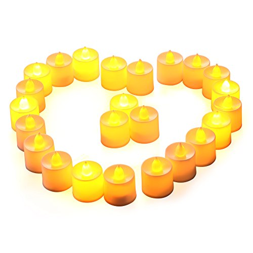[Candles Lights- 24 LED Battery-Operated Flameless Tealights Fall Winter Decor for Diwali, Halloween, Christmas, Thanksgiving, Home, Wedding, and Party Decorations ( Warm] (Halloween Decor For Home)