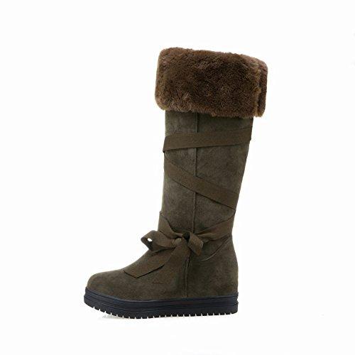 Latasa Flat Boots High Knee Snow Army Womens Strappy Green ZrTqEwgZ4