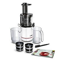 Bosch Slow Juicer MESM500W VitaExtract - Extractor de jugos, 150 W, 2 filtros, 50 RPM, con tecnología de prensado lento, con función antigoteo y funcionamiento silencioso, color blanco