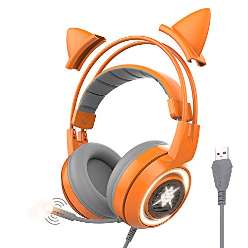 SOMIC G951orange Gaming Headset with USB Work with PC, PS4, Laptop: 7.1 Virtual Surround Sound Detachable Cat Ear Headphones LED, Lightweight Self-Adjusting Over Ear Headphones for Girlfriend Women (Best Xbox 360 Games To Play With Your Girlfriend)