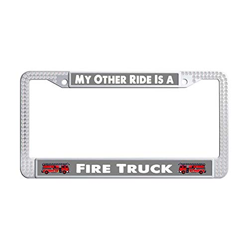 Hensonata Bling Glitter White Rhinestone Stainless Steel License Plate Frames, My Other Ride is A Fire Truck Luxury Waterproof Slim Design Metal Glitter Crystal Car Licenses Plate Covers