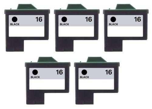 5/Pack 16 Black ink cartridges for Lexmark Compatible with: Color Jet Printer Z34 Z35 Z515 Z2600 Color Jet Printer i3 Z13 Z23 Z24 Z25 Printrio X1155 X1160 X1170 X1180 X1190 (Z13 Jet Printer)