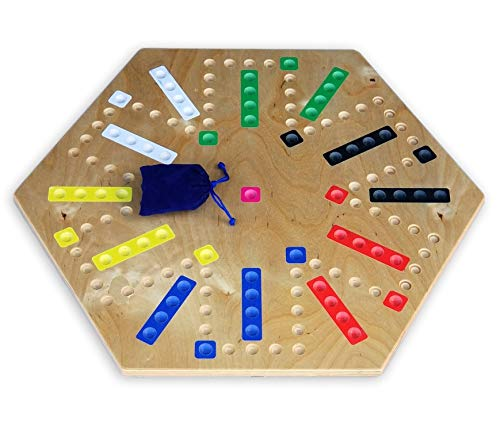 "Amish-Made 22"" Wooden Aggravation Marble Game Board, Double-Sided"