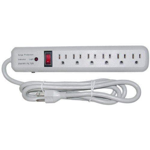 CableWholesale 6-Feet Surge Suppressor with 6 Outlet, 3 MOV 540 Joules EMI/RFI (51W1-01206)