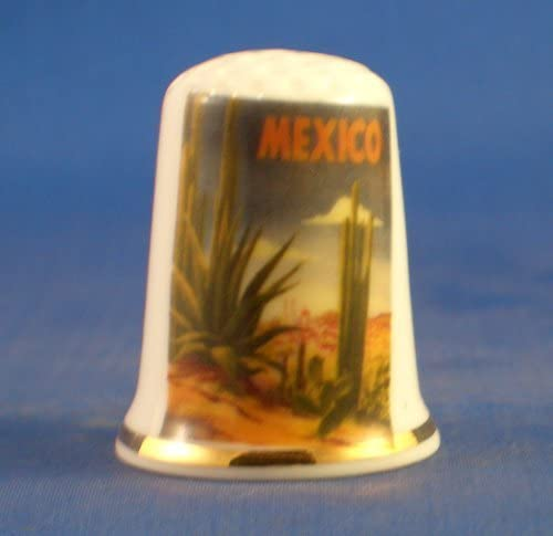 Travel Poster Series Mexico Porcelain China Collectable Thimble Free Gift Box