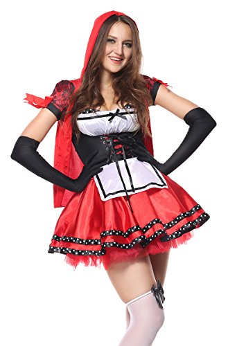 Ecilu Women's Deluxe Red Riding Hood Halloween Costumes Plus Size Red Large