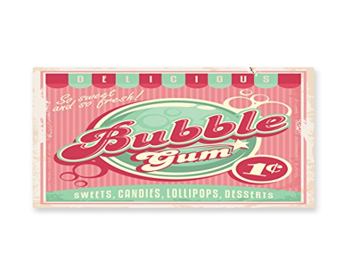 Lunarable 1950s Wall Art, Bubble Gum Tasty Candy Lollipop Sw