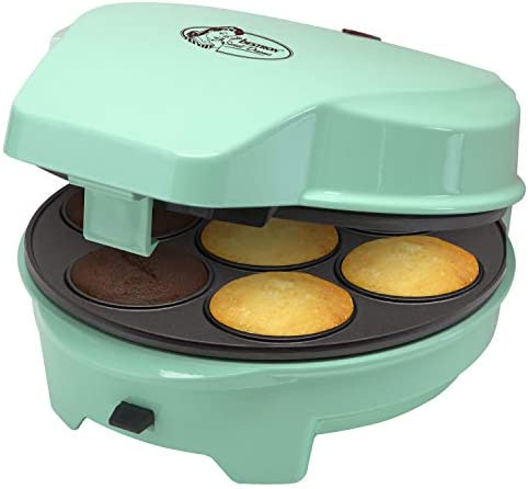 """Bestron Appareil à gâteaux rétro 3 en 1 """"Cakemaker"""", Pour faire des beignets, des muffins et des cake pop, Sweet Dreams, Revêtement antiadhésif, 700 W, Menthe"""