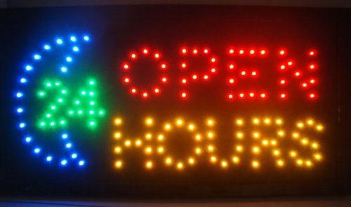UbiGear 10 19 Inch Flashing Motion LED Business 24-hour Hours Open Sign +On/off Switch Light ()
