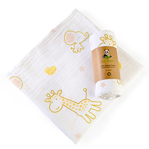 Organic Cotton Muslin Swaddle Blanket Double Layer Extra Large (Giraffe-Elephant) by Soft Cuddle ()