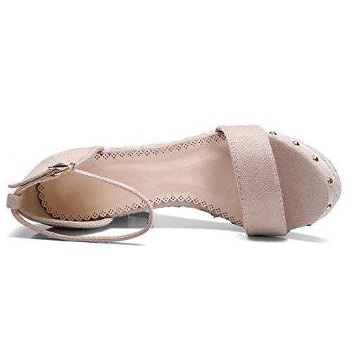Moda De Tobillo Mujer El Albaricoque Cuña De De Abierta De Zapatos En Correa Tacón COOLCEPT Sandalias Punta fSwxgg