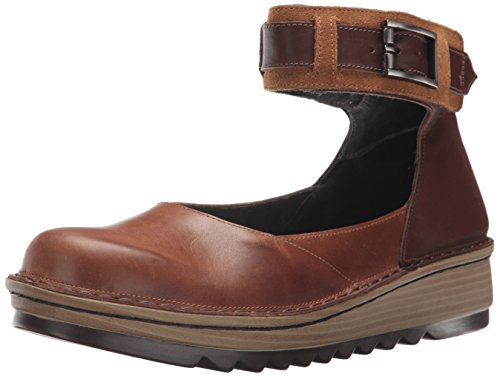 NAOT Women's Sycamore Mary Jane Flat, Vintage Camel Toffee Brown Leather/Desert sued, 42 Medium EU (11 US)