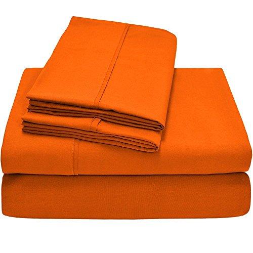Twin XL Sheet Set, Twin Extra Long, 3-Piece Ultra-Soft Premium Bed Sheets/Orange