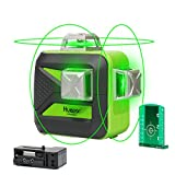 Huepar Self-Leveling Green Laser Level 360 Cross Line with 2 Plumb Dots Laser Tool -360-Degree Horizontal Line Plus Large Fan Angle of Vertical Beam with Up & Down Points -Magnetic Pivoting Base 603CG