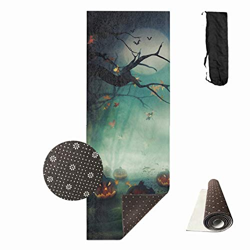 Fantasy Halloween Yoga Mat Non-Toxic Print Exercise & Fitness Mat Anti-Tear Extra Thick Pilates Mat with Carrying Bag