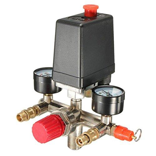90-120PSI Air Pressure Compressor Valve Manifold Regulator Gauges Switch Control