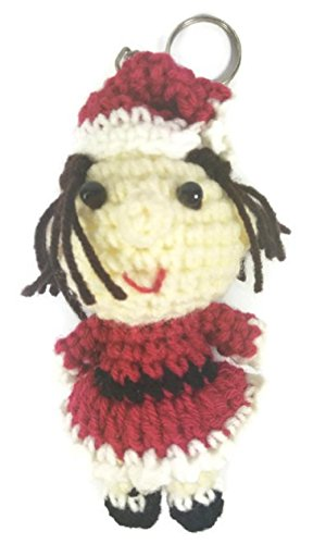 [Chic Cute 2 in 1 Hand Knit Keychain Doll, Christmas Santa Girl Toy] (St Bernard Baby Costumes)