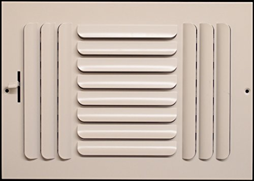 14'w X 8'h 3-Way FIXED CURVED BLADE AIR SUPPLY DIFFUSER - Vent Duct Cover - Grille Register - Sidewall or Cieling - High Airflow - White