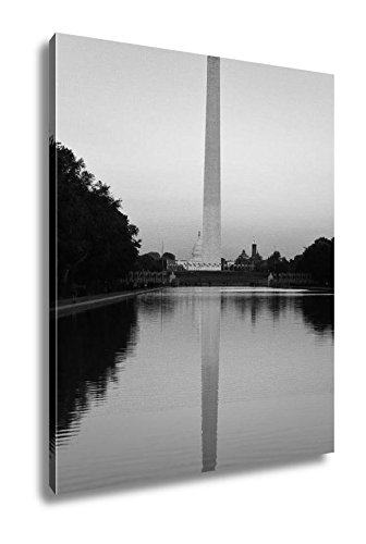 Ashley Canvas Washington Monument Reflecting Pool by Lincoln Memorial, Wall Art Home Decor, Ready to Hang, Black/White, 20x16, AG5658619