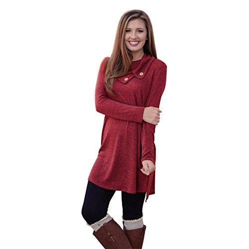 MIXMAX Women Lapel Neck Long Sleeve Loose Dress Sides Slit Shirt Dress (X-Large, Red01)