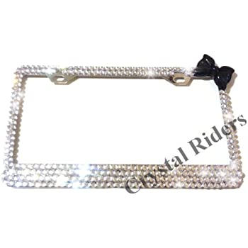 Amazon.com: Bling License Plate Frame with BLACK BOW Crystals Clear ...