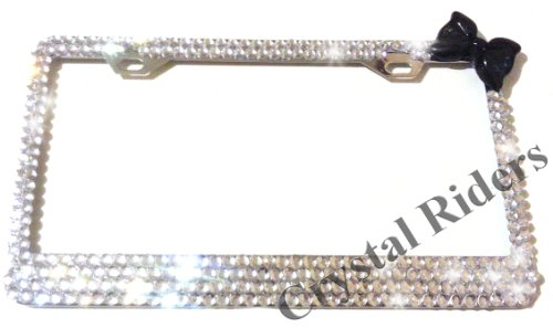 - Bling License Plate Frame with BLACK BOW Crystals Clear Metal Chrome Zink Alloy Holder Sparkly Sparkle Custom Hand Made Hand Crafted