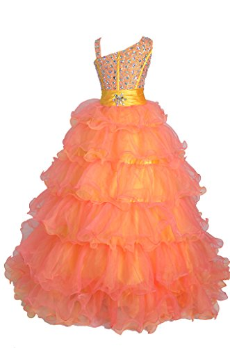 GreenBloom Girls One Shoulder Beading Ruffled Pageant Ball Gowns 16 US Gold