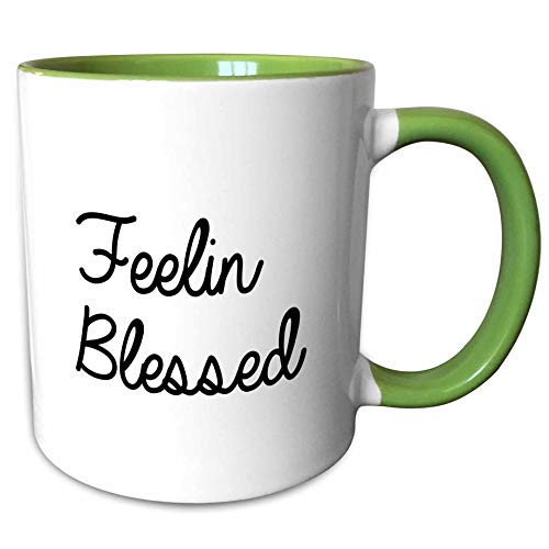 3dRose Tory Anne Collections Quotes - Feeling Blessed - 15oz Two-Tone Green Mug (mug_288759_12)