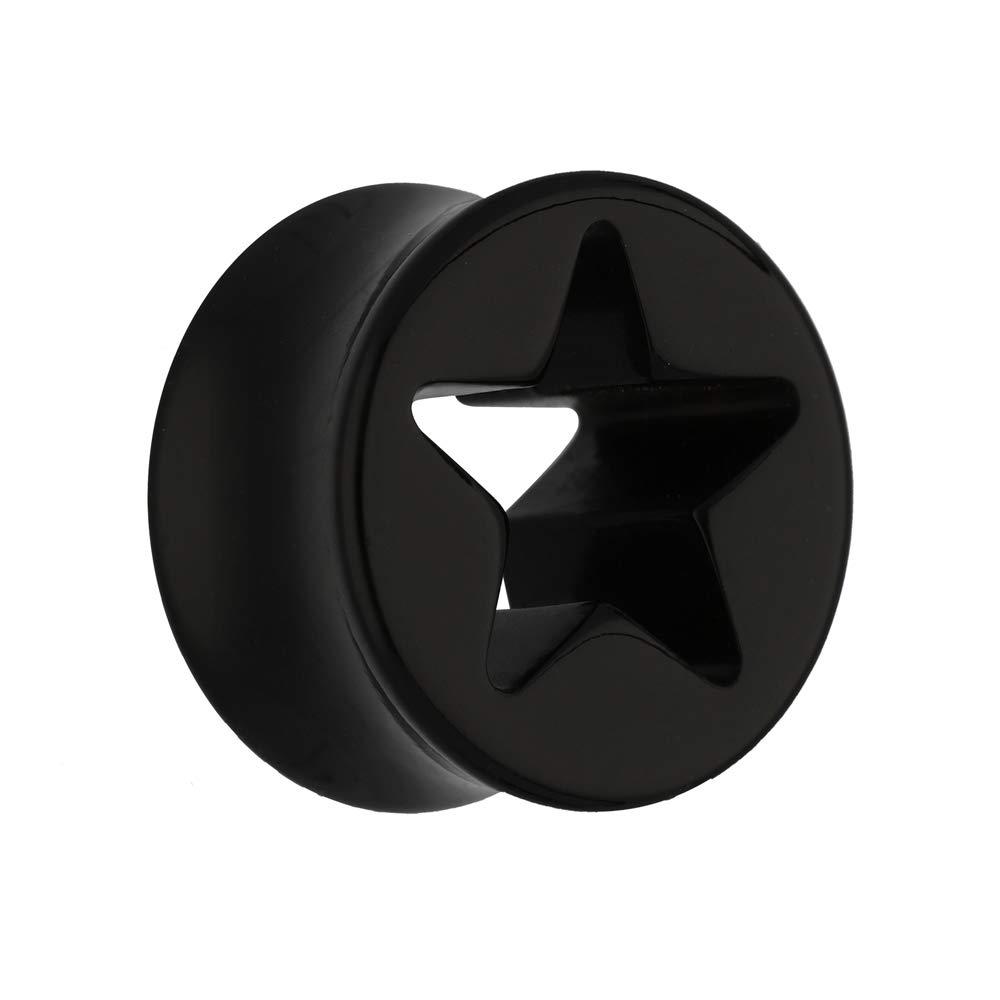 treu Held® | Estrella de oído Plug - Negro - 15 Tamaños: 5 mm - 30 mm - Diseño elegante - sin rosca - Double Flare Star - Piercing túnel Plug con ...