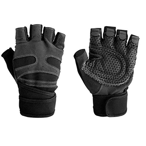 (WaiiMak Hispter Men Women Gym Gloves with Wrist Wrap Support for Weight Lifting/Workout/Fitness (Black))