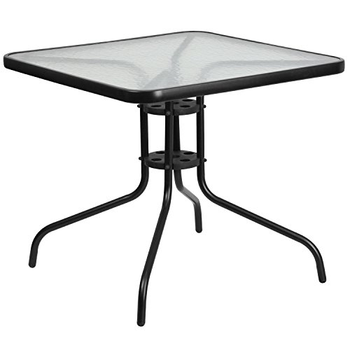 - Flash Furniture 31.5'' Square Tempered Glass Metal Table