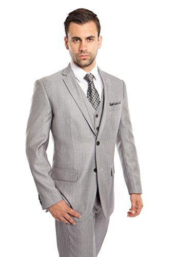 TAZIO Men's Solid Two Button Elegant Modern Fit 3 Piece Suit (42L, Lt Grey)