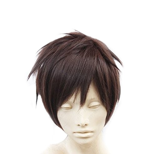 SuperWigy® Hot Sale Attack on Titan Eren Jaeger Style Short Dark Brown Hair Anime Cosplay Wig+Wig Cap ()
