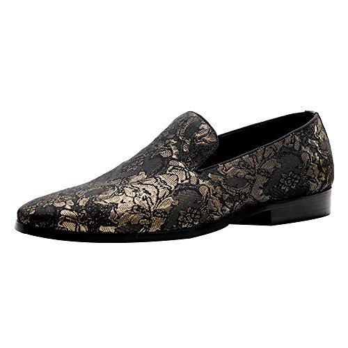 Chaussures Gold DHFUD Hommes Pointues Brodées pour Britanniques g04a0