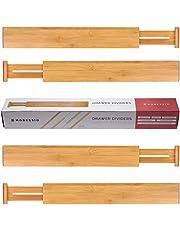 Modessio Bamboo Drawer Dividers Kitchen Organizer - Spring Adjustable Kitchen Utensil Drawer Organizer (Set of 4) - Office Drawer & Junk Drawer Organizer