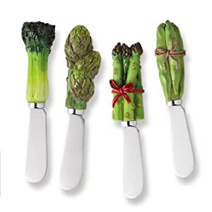 Vegetable Stainless Steel and Hand Painted Resin Spreader, Set of 4