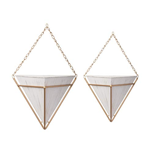 Modular Office Cottage (Distressed White Gold Wall Pocket Hanging Triangle Planters Set of 2 Geometric with Gold Chain and Frame)