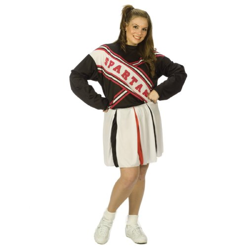 Fun World Women's Licensed Saturday Nignt Live Spartan Cheerleader, White, Plus Size up to 6'2