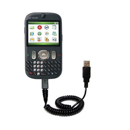 (Unique Gomadic Coiled USB Charge and Data Sync cable for the HTC CDMA PDA Phone - Charging and HotSync functions with one cable. Built with TipExchange)