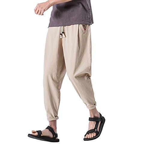 Creazrise Mens Casual Elastic Waist Linen Capri Slim Baggy Harem Ankle-Length Pants Trousers (Khaki,L)