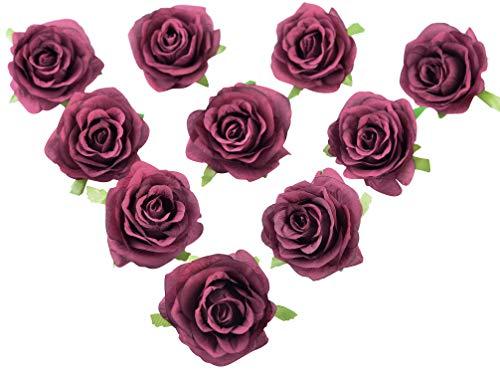 AlphaAcc Pack of 10 Wedding Favor Burgundy Flower Head Artificial 3.5 Inch Silk Rose Heads Bridal Shower Decorations Replacement Flowers Bouquet