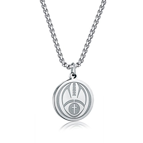 ADoor Football Athletes Stainless Steel Cross Pendant Necklace for Boy Men 22