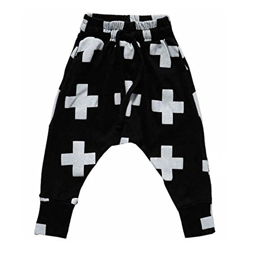 BOBORA Kids Baby Boys Girls Cross Pattern Bottoms Harem Pants Punk Rock Trousers