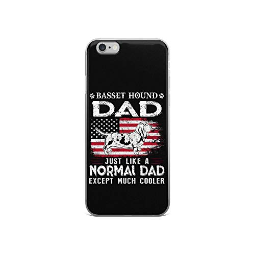 iPhone 6/6s Pure Clear Case Cases Cover Cool Basset Hound Dad Just Like Normal Dad Except Much Cooler Dog Lover TPU Shockproof Protective Black ()