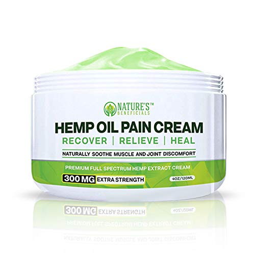 Organic Hemp Oil Extract Cream 300mg - Ultra Premium Pain Relief & Anti-Inflammatory Healing for Arthritis, Nerve, Back, Joint, Bone, Ankle, Knee, Chronic & Acute Pain - Non-GMO Ultra-Pure Full Spec
